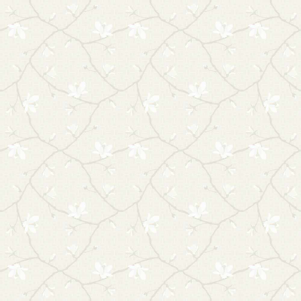 Magnolia Wallpaper - White & Ivory - by Boråstapeter