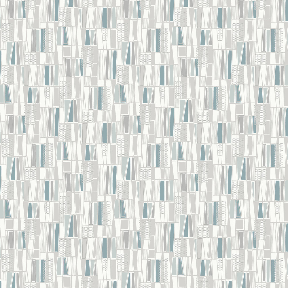 Boråstapeter Retro Pale Blue & Grey Wallpaper - Product code: 5470