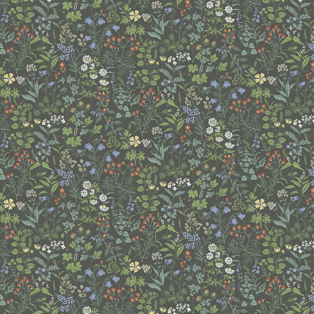 Flora Wallpaper - Charcoal - by Boråstapeter