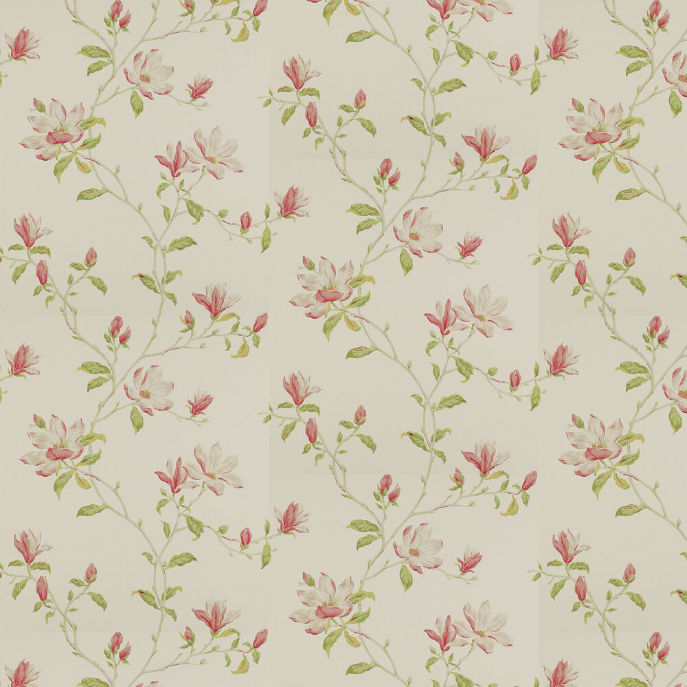 Marchwood Wallpaper - Pink / Green - by Colefax and Fowler