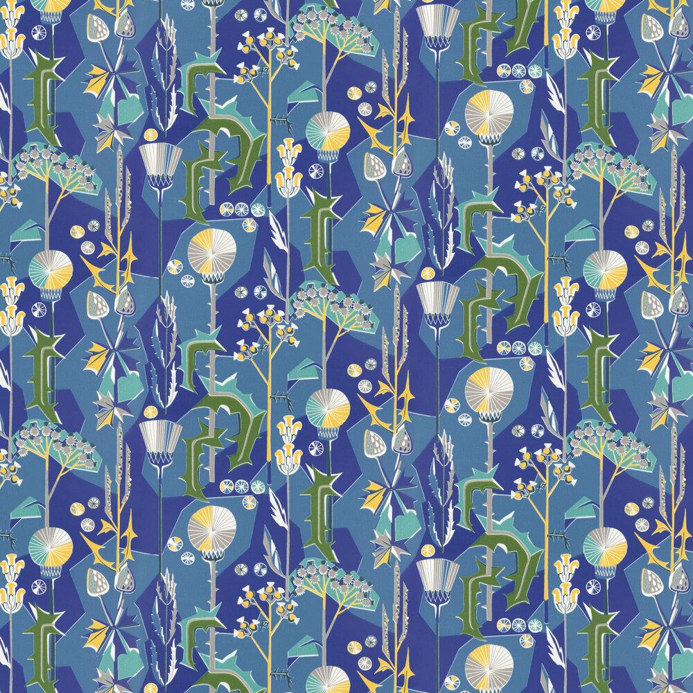 Tistlar Wallpaper - Blue/Yellow - by Sandberg