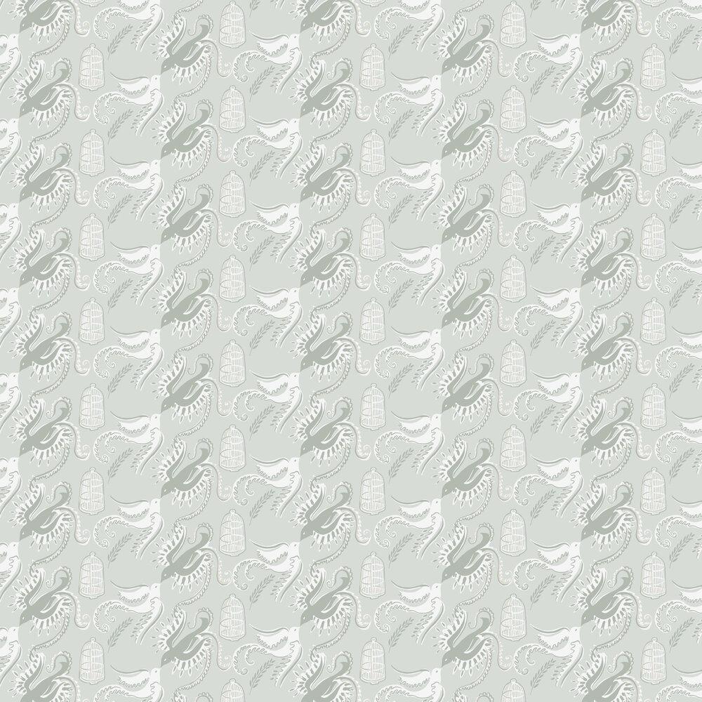 Sandberg Fredsfaglar Pale Blue/White Wallpaper - Product code: 595-28
