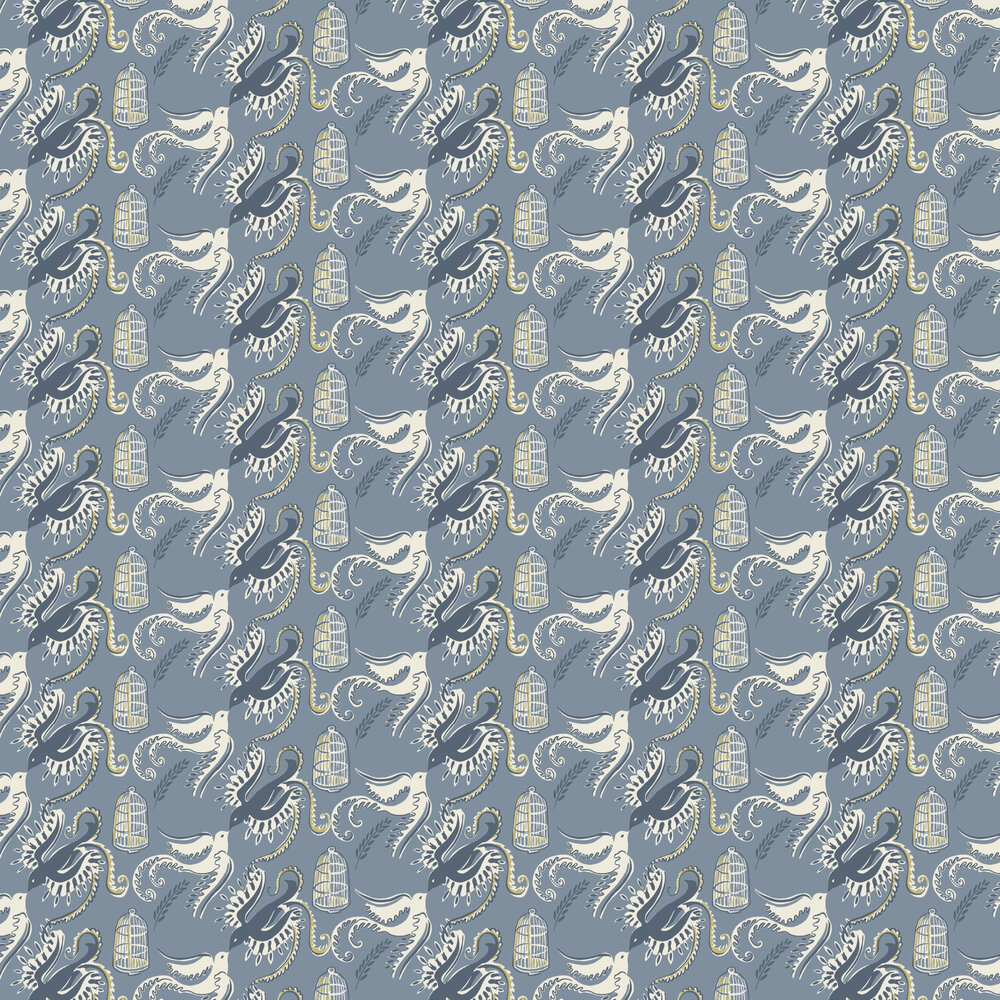 Sandberg Fredsfaglar Navy/White Wallpaper - Product code: 595-56