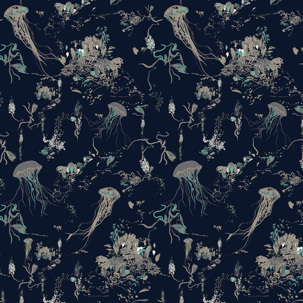 Jellyfish Wallpaper - Navy - by 17 Patterns