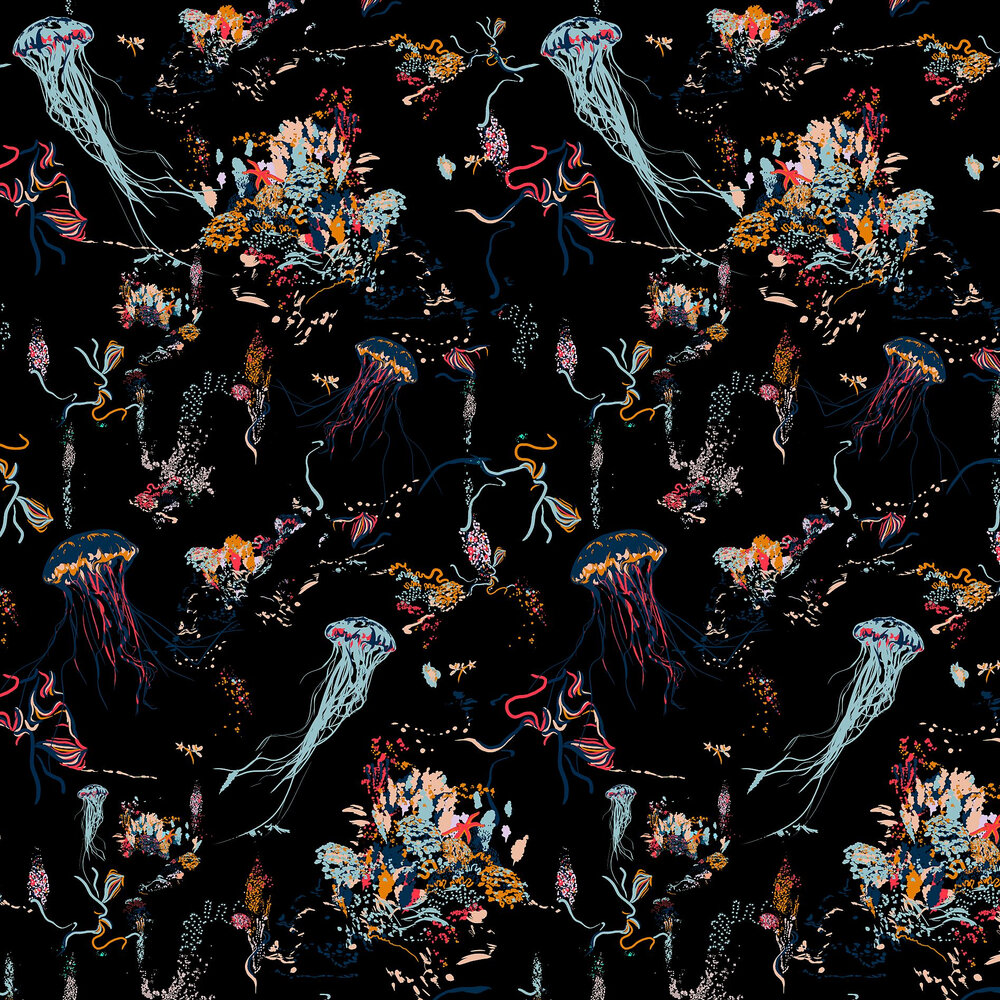 Jellyfish Wallpaper - Black - by 17 Patterns