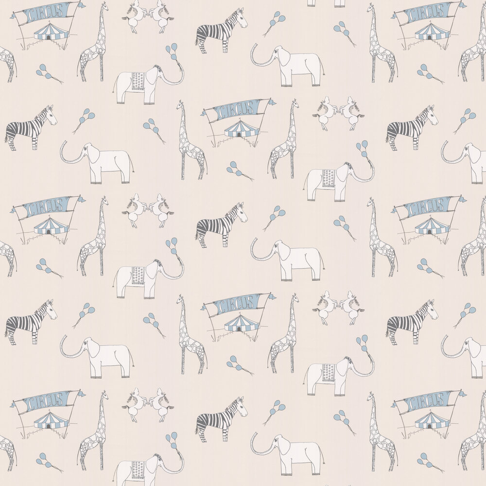 Katie Bourne Interiors Merry Go Circus Cream / Blue Wallpaper - Product code: 6A Merry