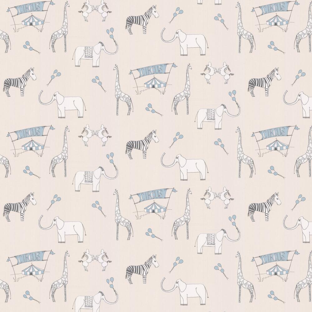 Merry Go Circus Wallpaper - Cream / Blue - by Katie Bourne Interiors