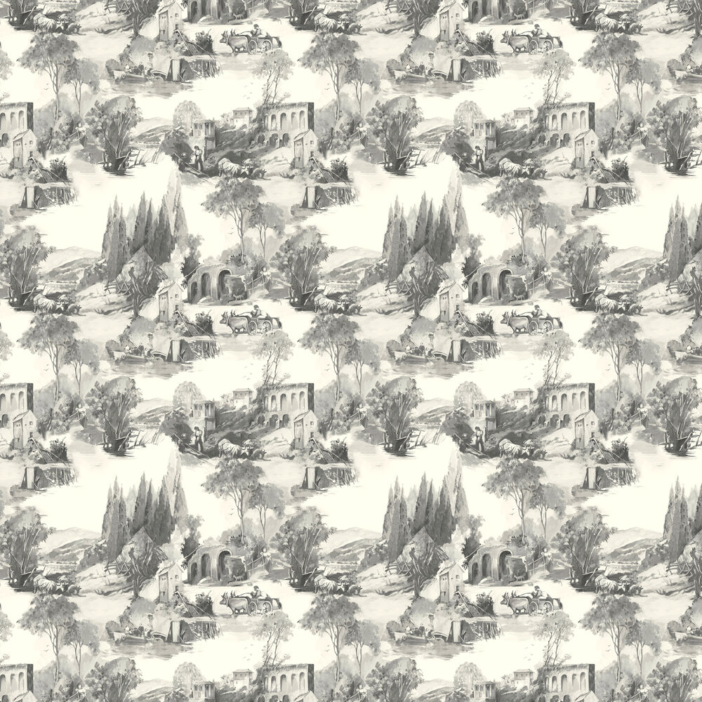 Anastacia Wallpaper - Charcoal - by Clarke & Clarke