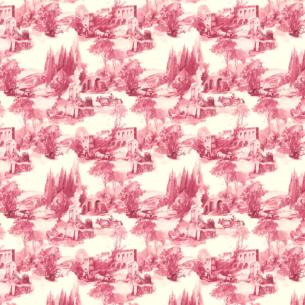 Anastacia Wallpaper - Raspberry - by Clarke & Clarke