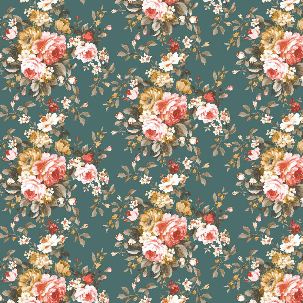 Clarke & Clarke Emeline Jade Wallpaper - Product code: W0081/05