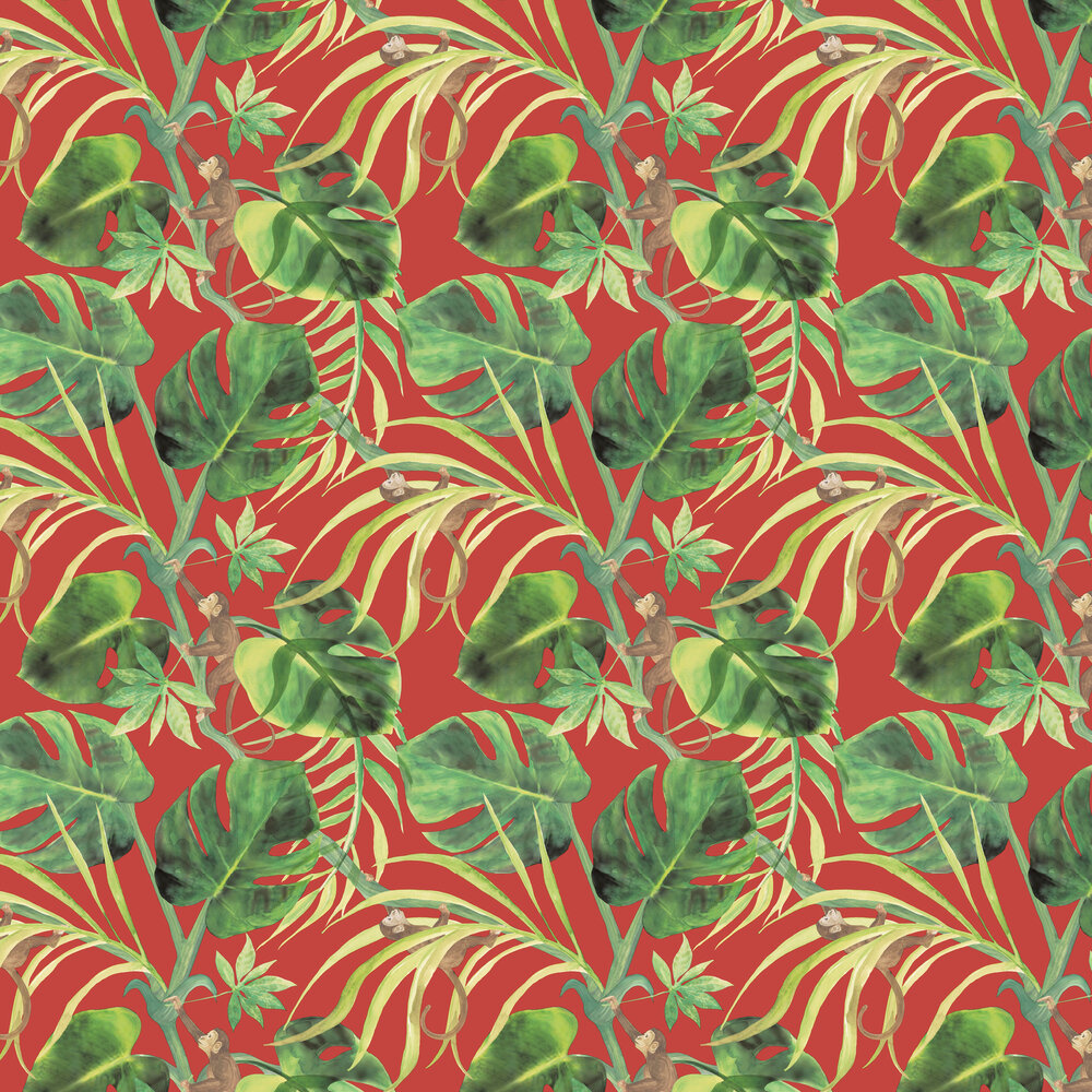 Clarke & Clarke Monkey Business Rouge Wallpaper - Product code: W0083/05
