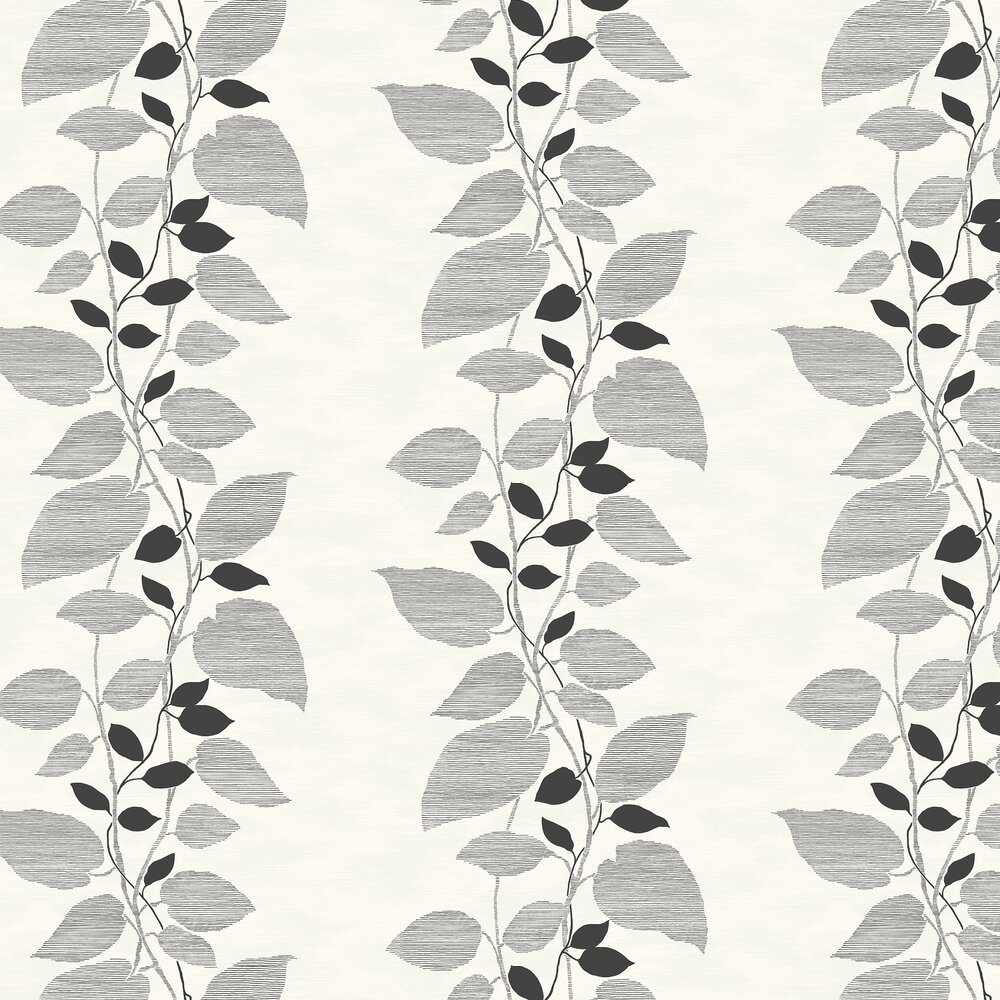 Today Interiors Vertical Leaf Trail Black & White Wallpaper - Product code: 1303200