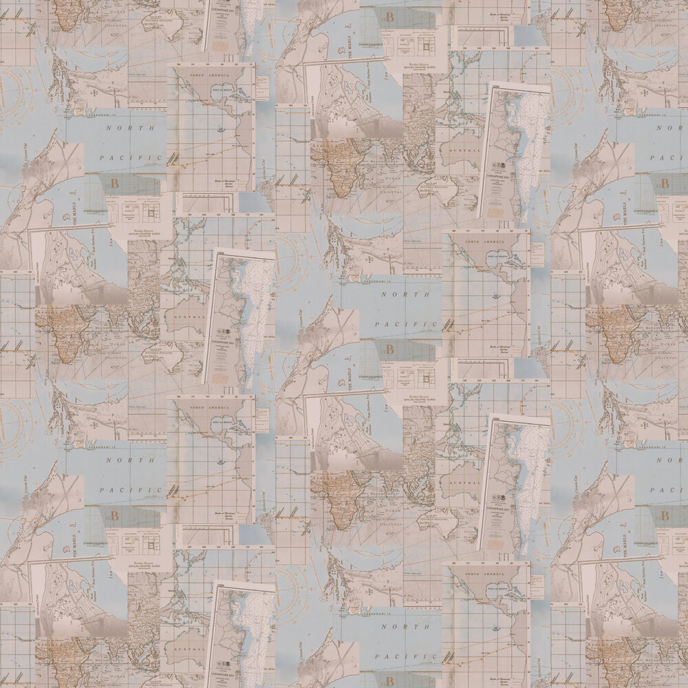 Galerie Oceans Blue / Brown Wallpaper - Product code: 18392