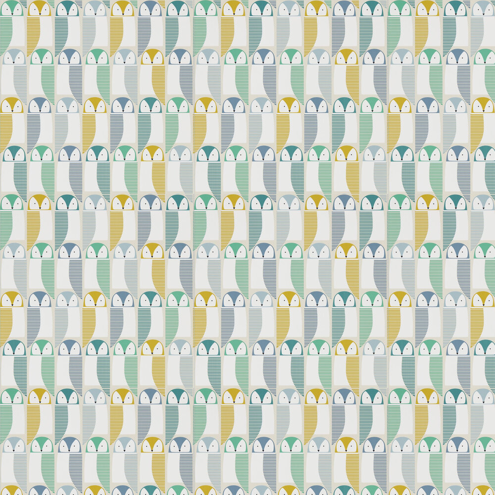 Scion Barnie Owl Jade / Sunshine / Forest Wallpaper - Product code: 111517