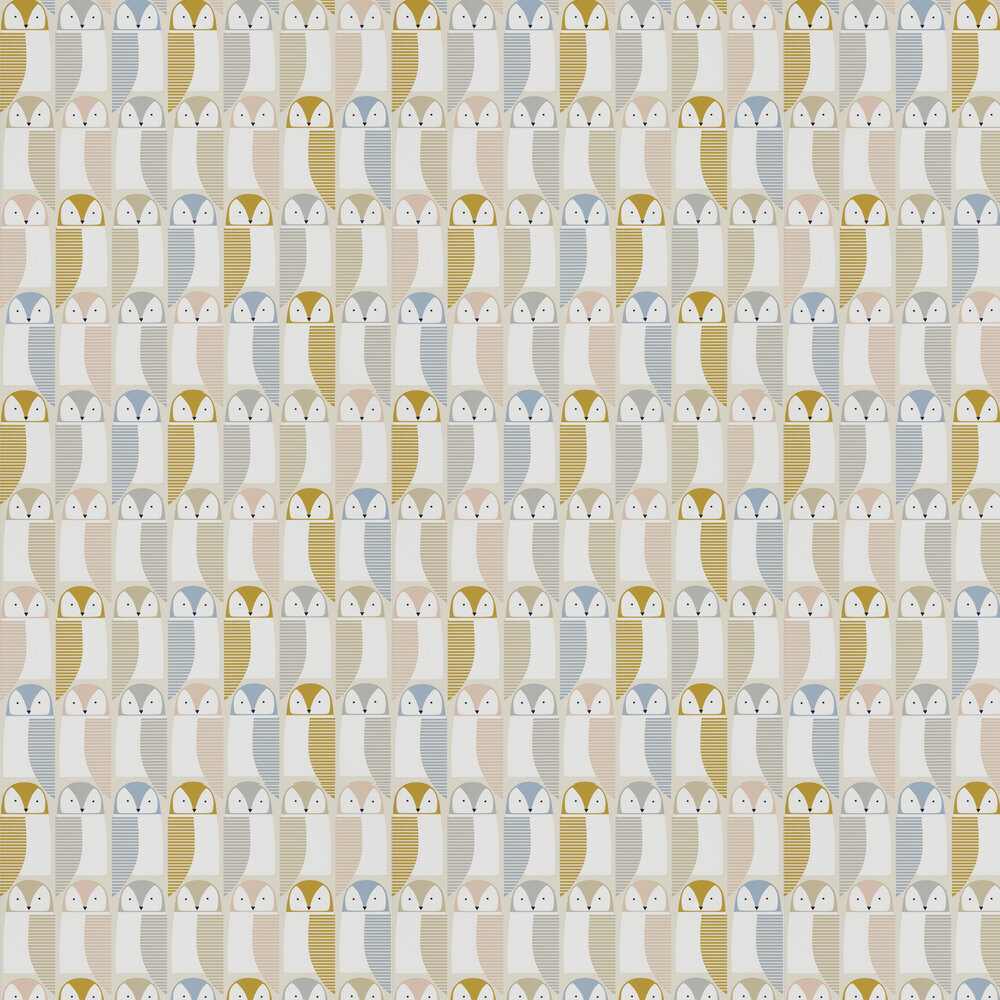 Barnie Owl Wallpaper - Blush / Honey / Raffia - by Scion
