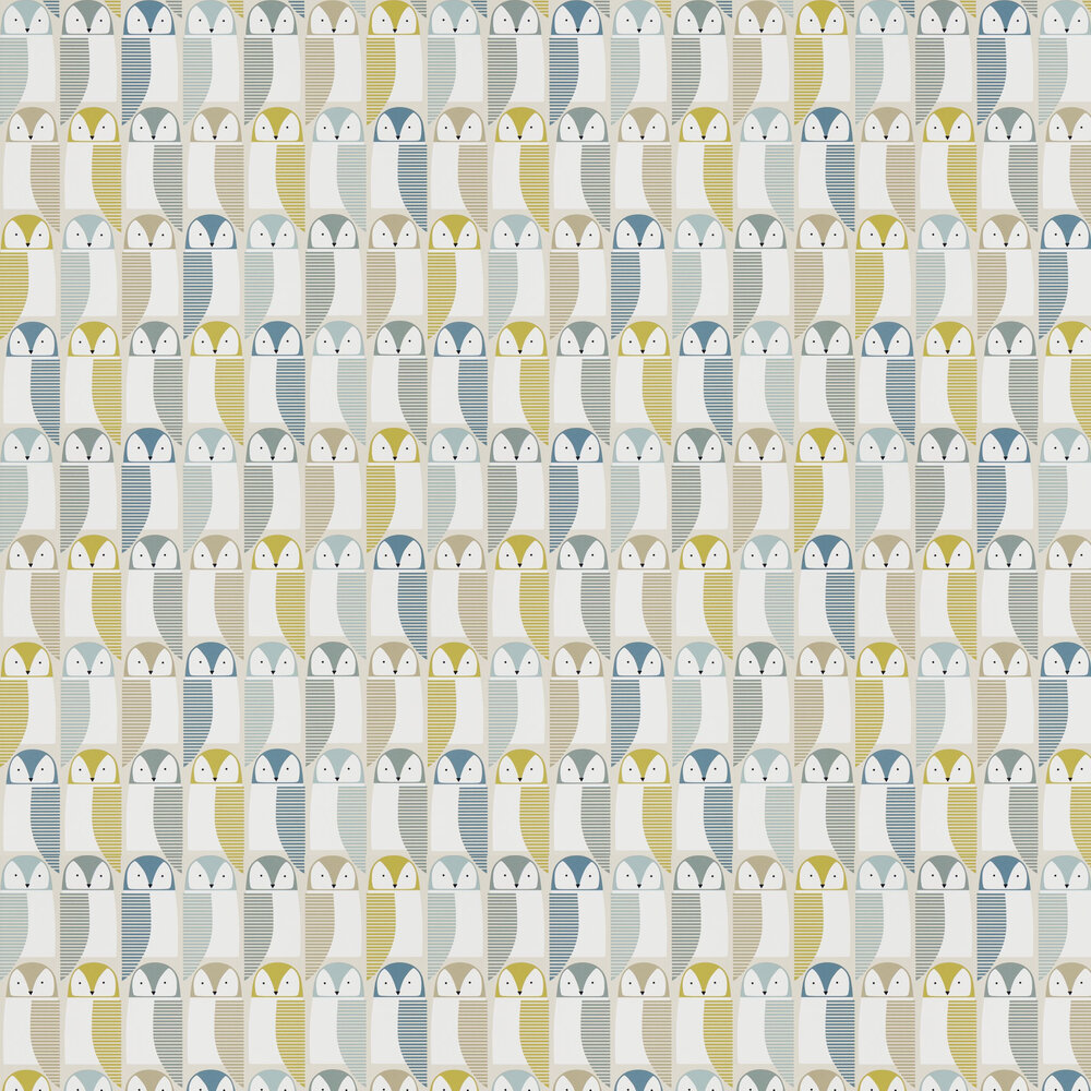 Scion Barnie Owl Limeade / Hemp / Glacier Wallpaper - Product code: 111519