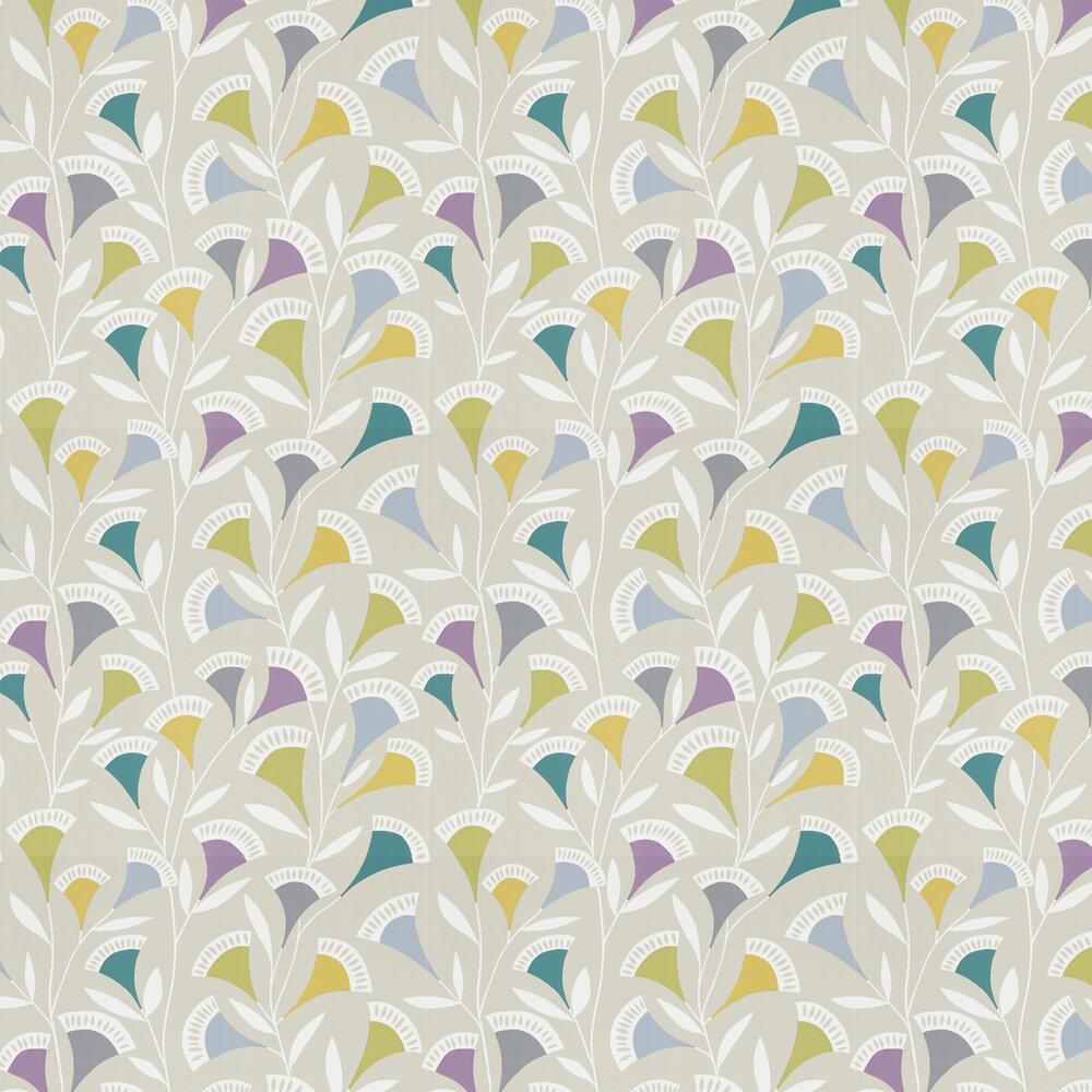 Noukku Wallpaper - Foxglove / Graphite / Forest - by Scion