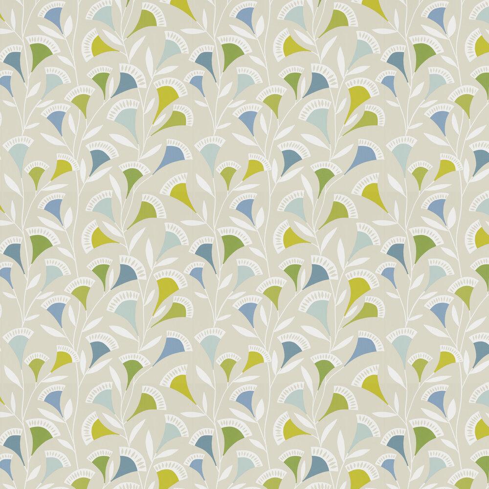Noukku Wallpaper - Citrus / Glacier / Biscuit - by Scion