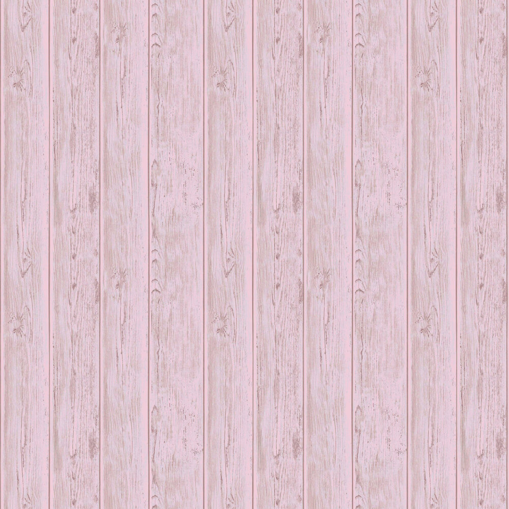 Metallic Wood Wallpaper - Rose Gold - by Lipsy London