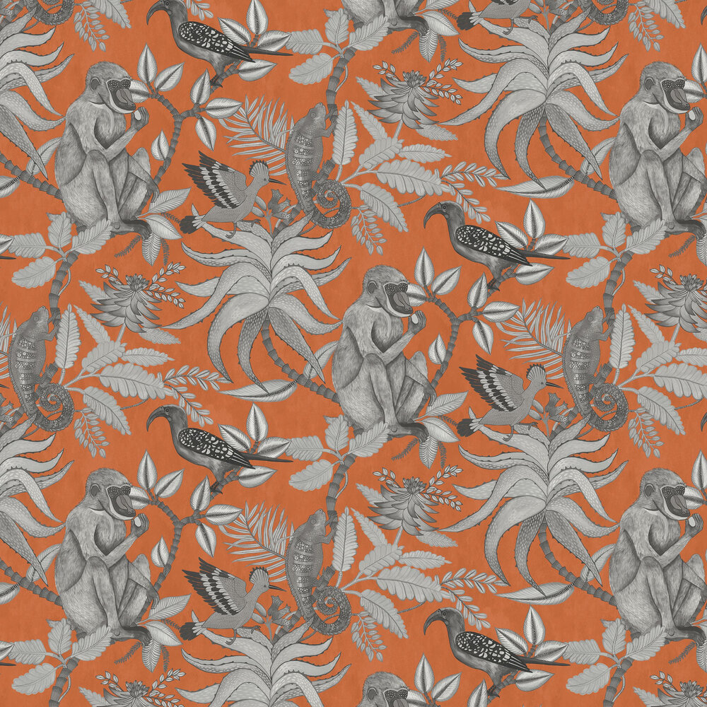 Savuti Wallpaper - Orange - by Cole & Son