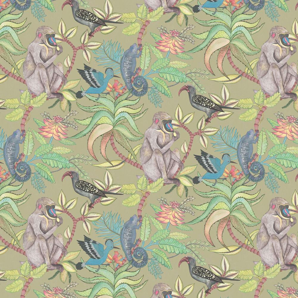Savuti Wallpaper - Khaki Multi - by Cole & Son