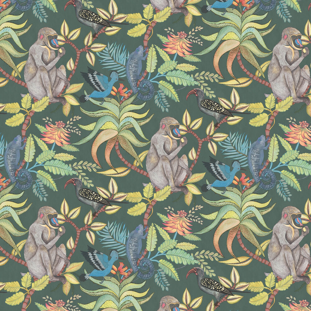Savuti Wallpaper - Dark Petrol Multi - by Cole & Son