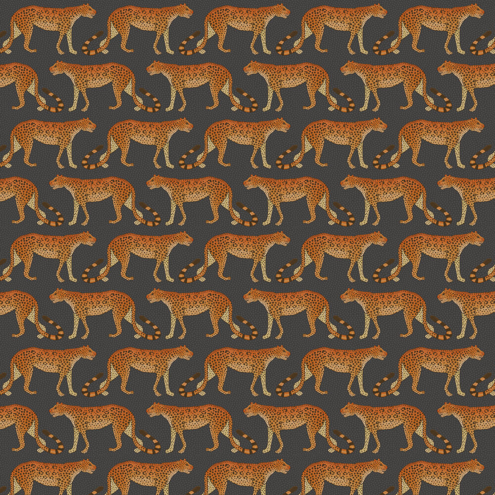 Cole & Son Leopard Walk Charcoal / Orange Wallpaper - Product code: 109/2008