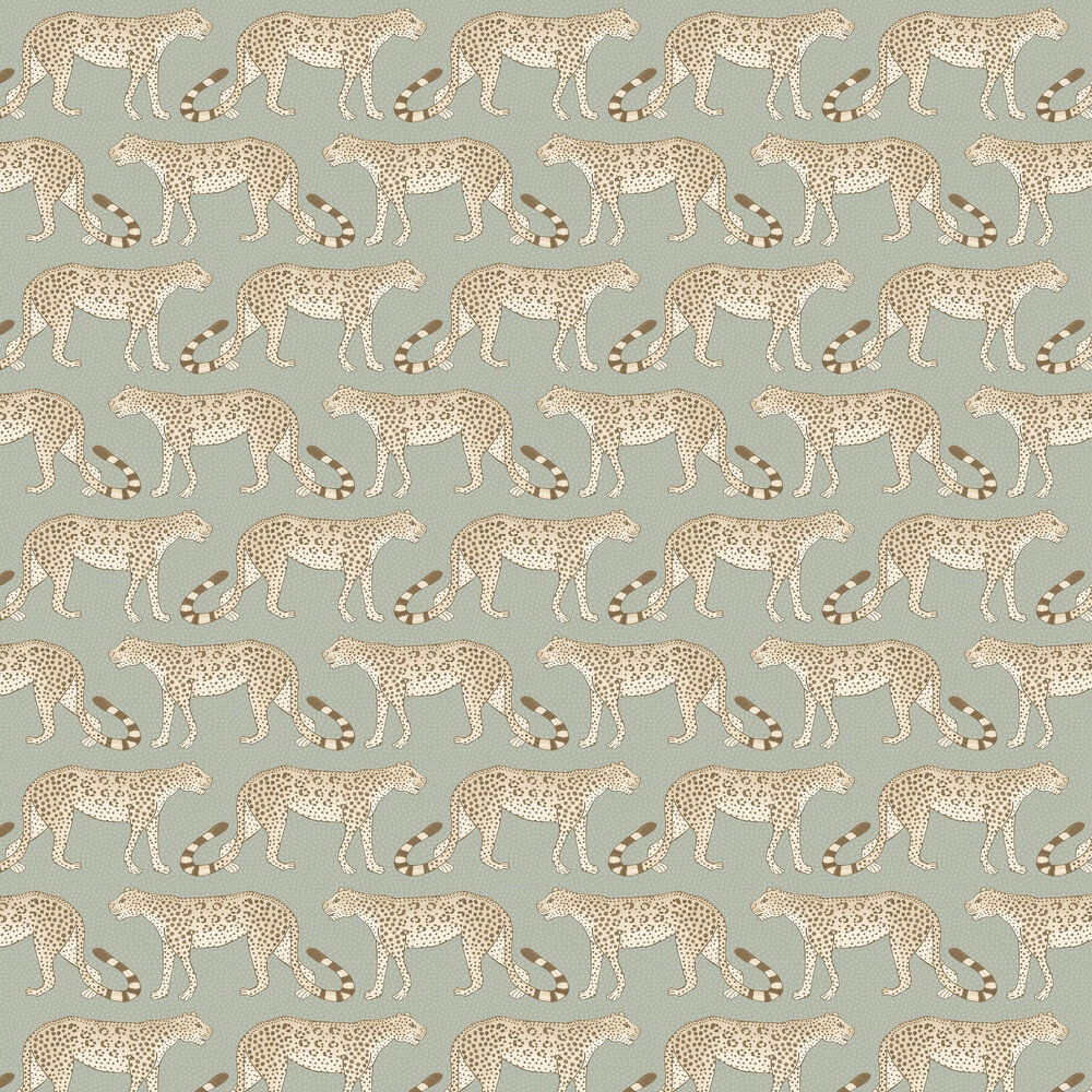 Leopard Walk Wallpaper - Olive / White - by Cole & Son