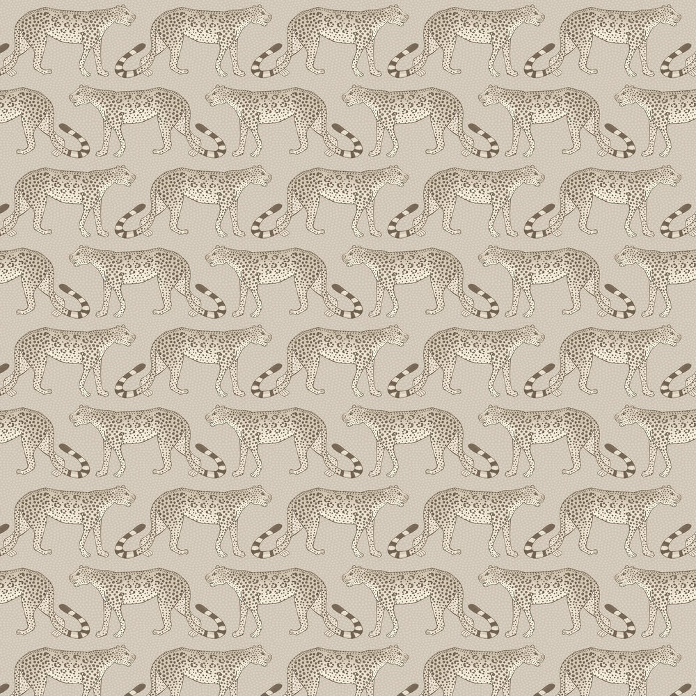 Leopard Walk Wallpaper - Stone - by Cole & Son