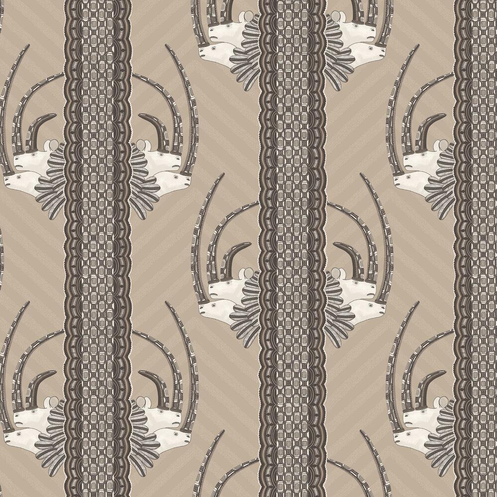 Jabu Wallpaper - Linen / Black - by Cole & Son