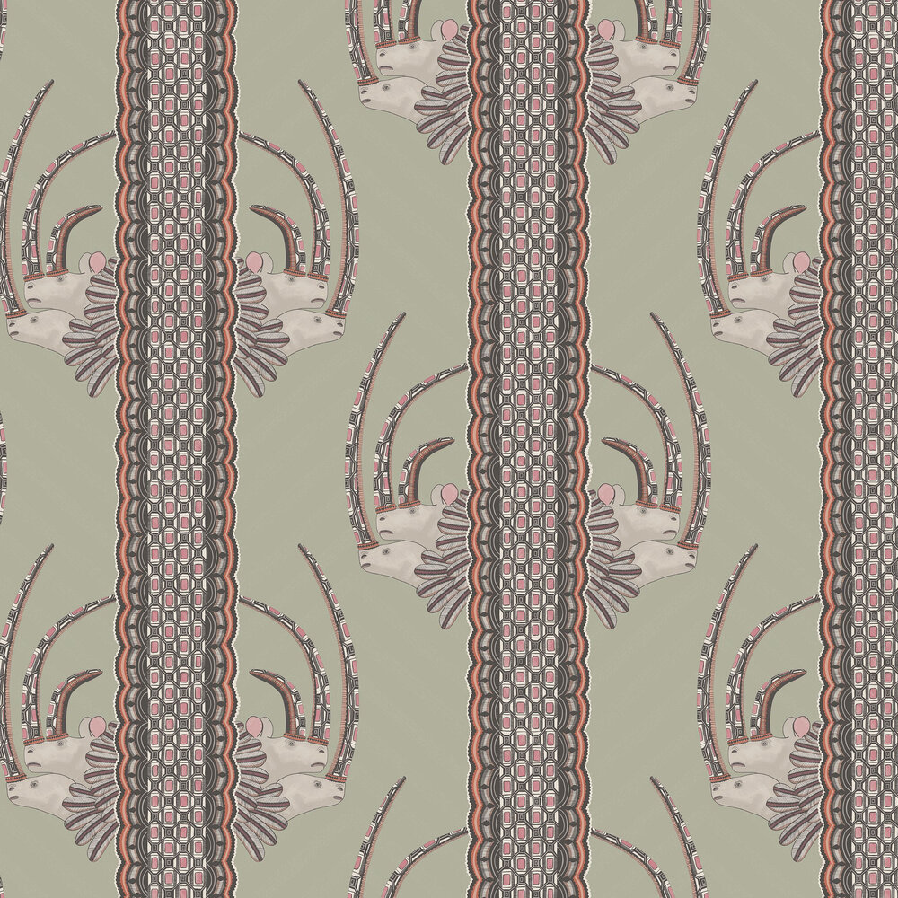 Jabu Wallpaper - Olive / Pink - by Cole & Son