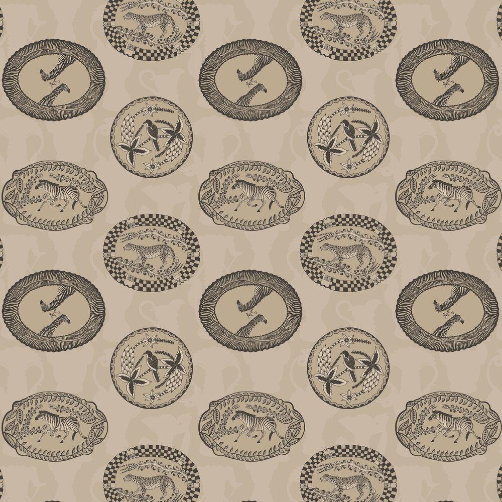 Matrinah Wallpaper - Stone / Gilver - by Cole & Son