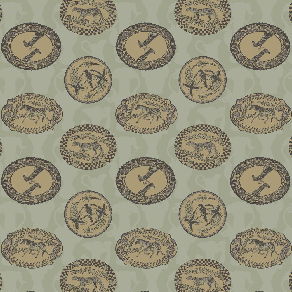 Matrinah Wallpaper - Old Olive - by Cole & Son