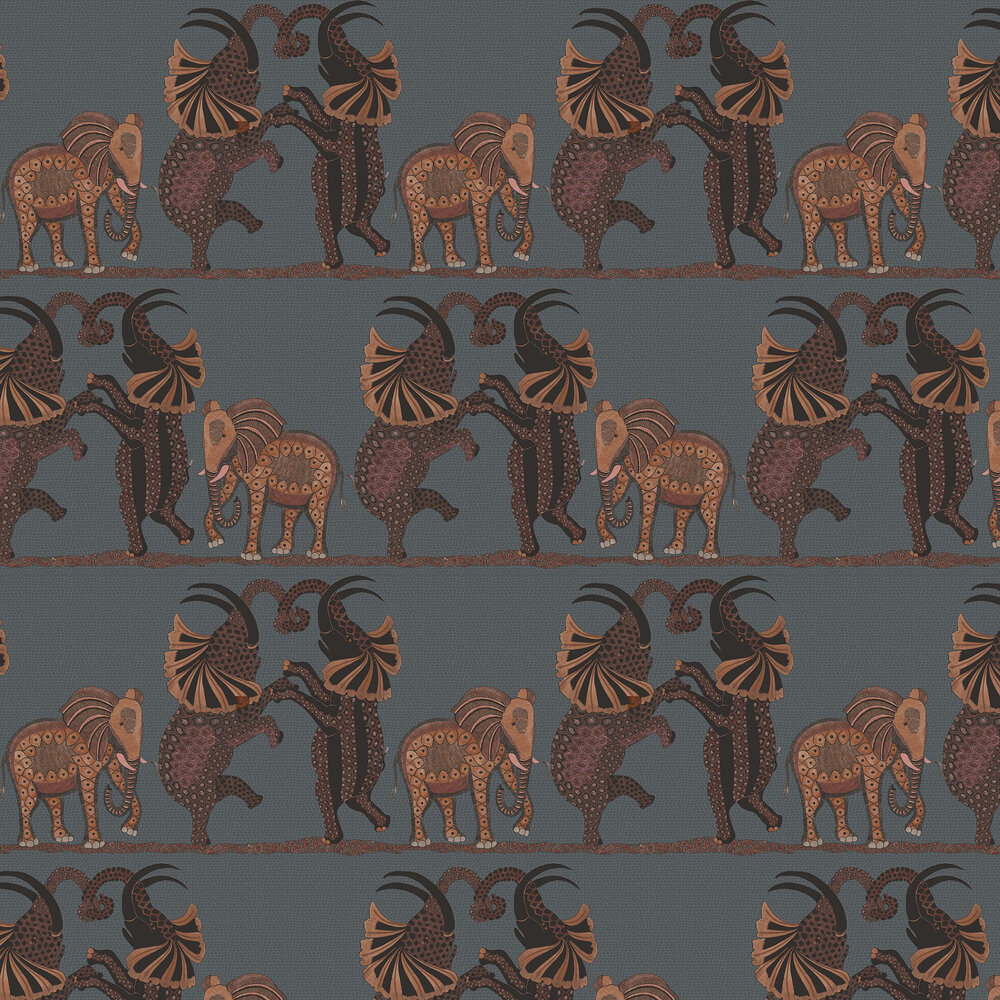 Safari Dance Wallpaper - Charcoal / Red - by Cole & Son
