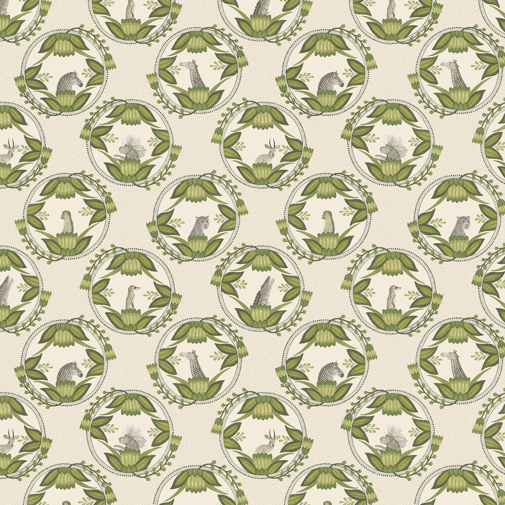 Ardmore Cameos Wallpaper - Stone / Green - by Cole & Son