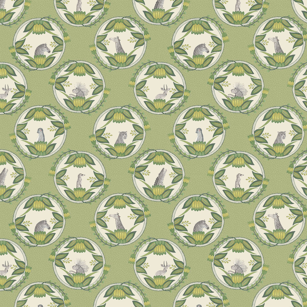 Ardmore Cameos Wallpaper - Green - by Cole & Son
