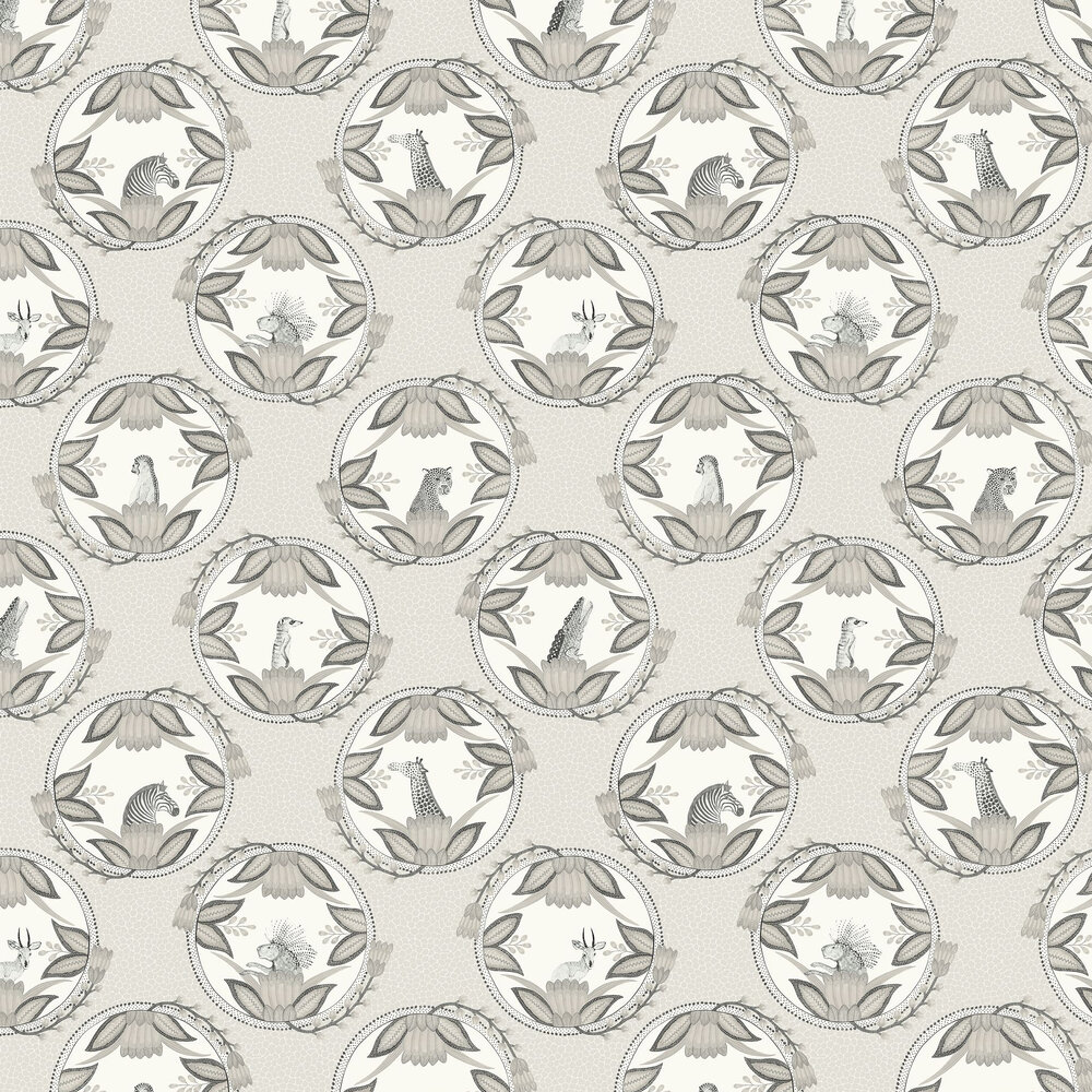 Ardmore Cameos Wallpaper - Grey - by Cole & Son