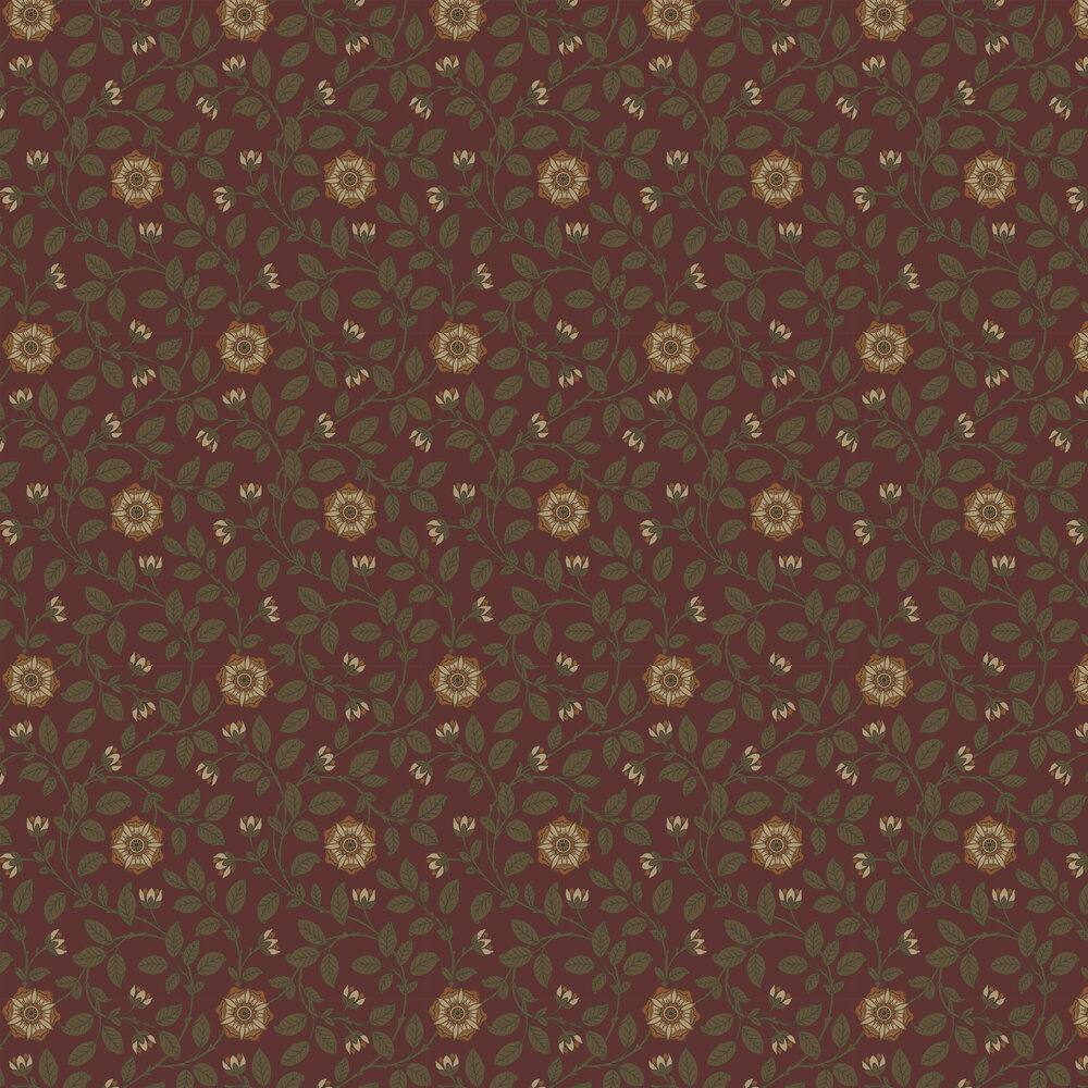 Little Greene Richmond Green Revival Red Wallpaper - Product code: 0251RGREVIR