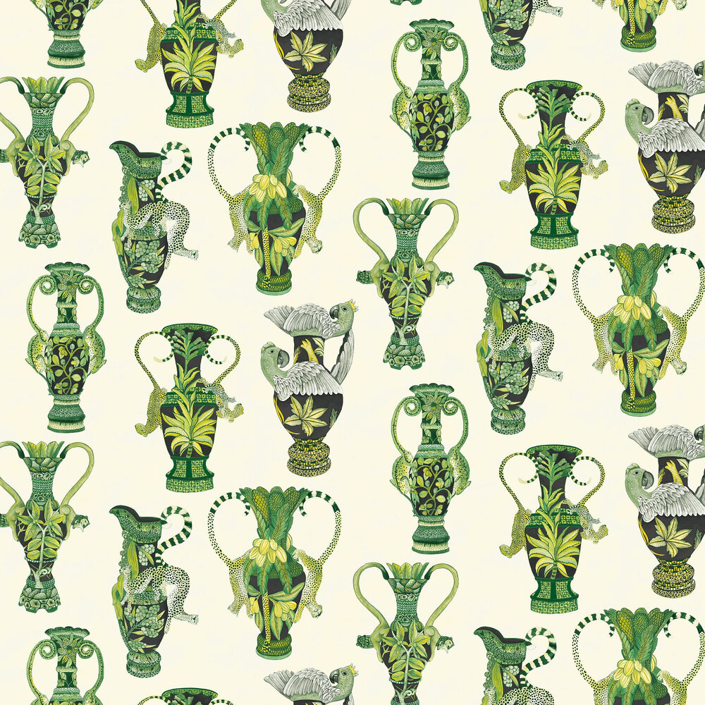 Khulu Vases Wallpaper - Green and White  - by Cole & Son