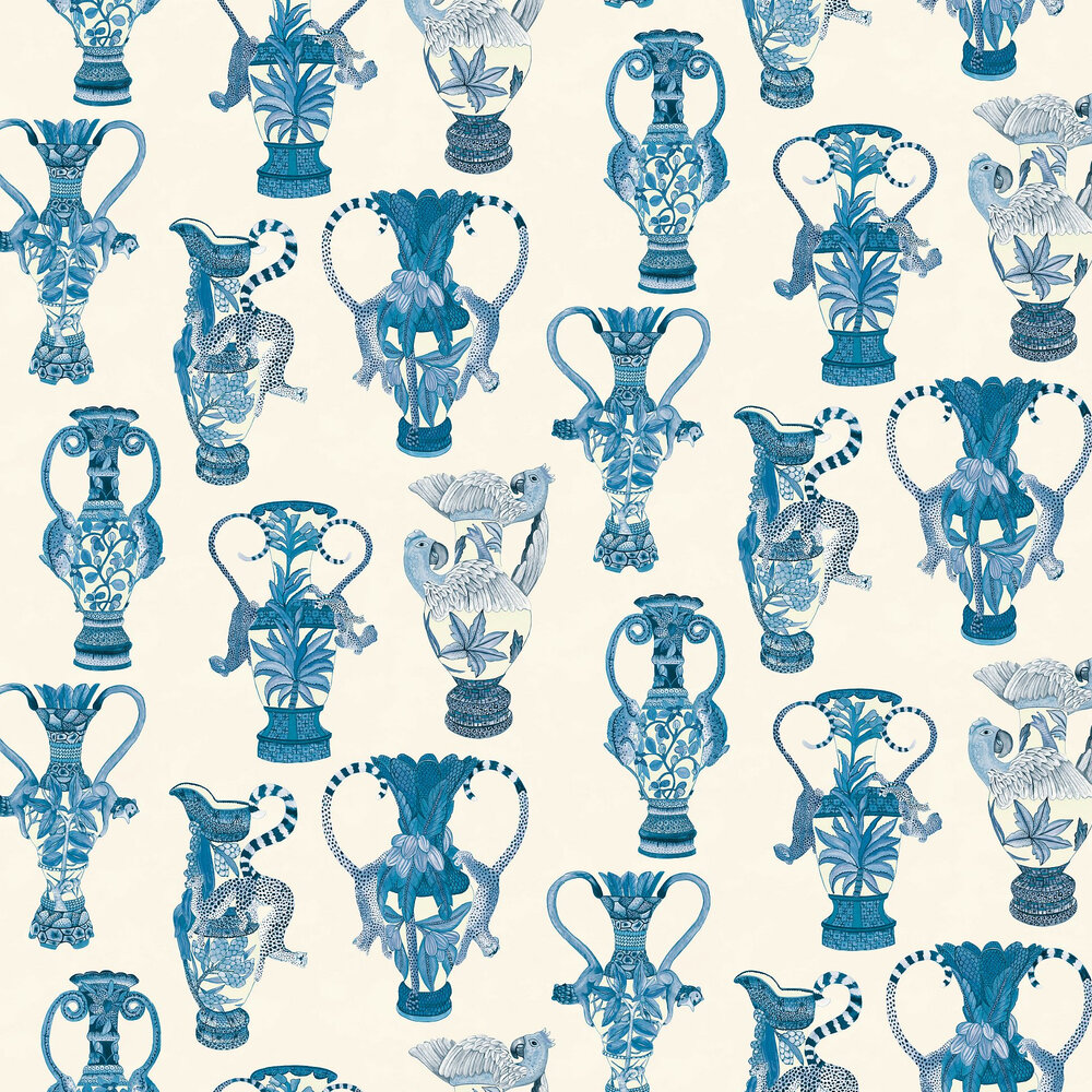 Cole & Son Khulu Vases Blue & White Wallpaper - Product code: 109/12059