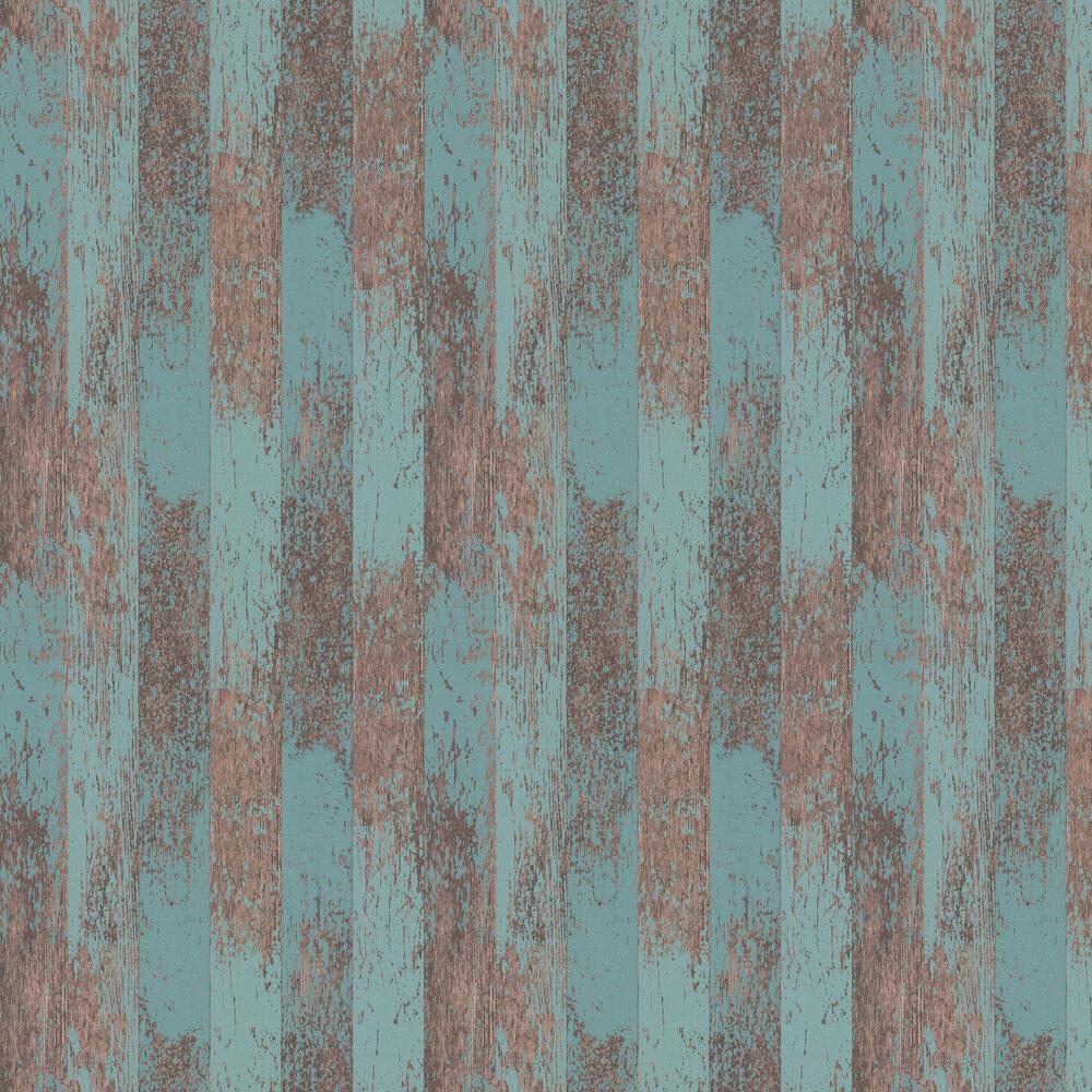 Driftwood Wallpaper - Teal / Metallic Copper - by Osborne & Little