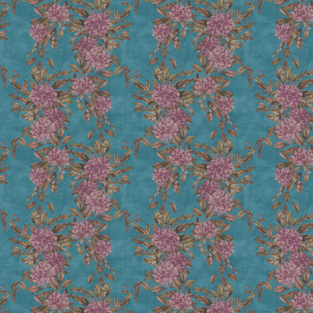 Rhodora Wallpaper - Plum / Sepia / Teal - by Osborne & Little