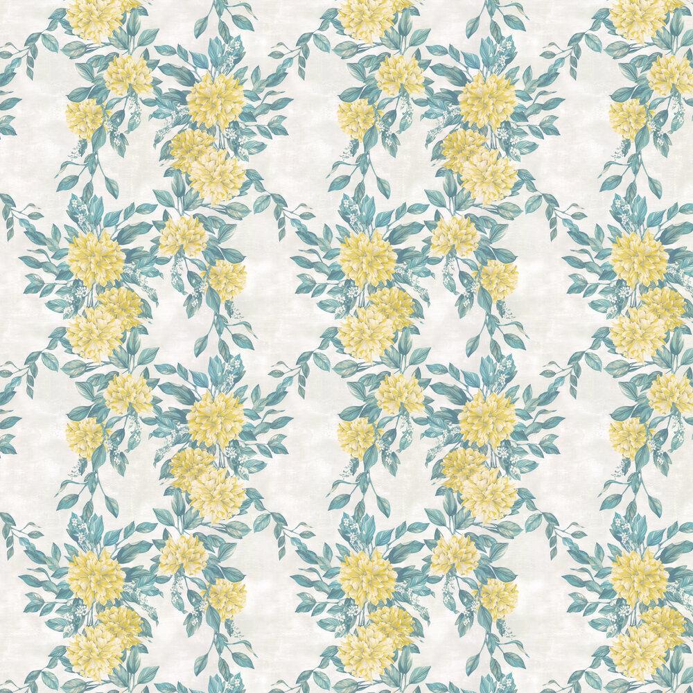 Rhodora Wallpaper - Lemon / Green / Stone - by Osborne & Little