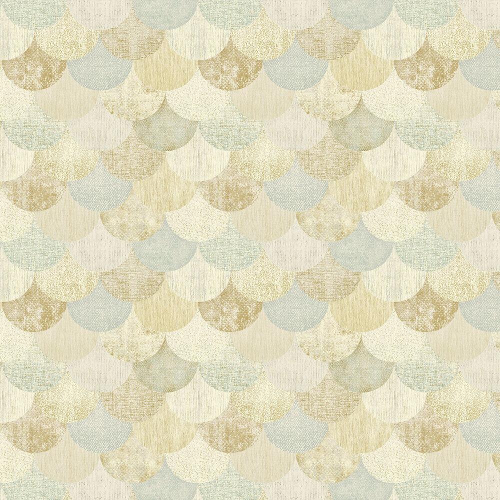 Paxhill Wallpaper - Aqua / Gold - by Elizabeth Ockford