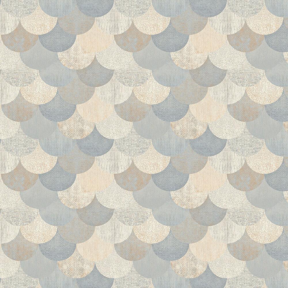 Paxhill Wallpaper - Blue / Copper - by Elizabeth Ockford