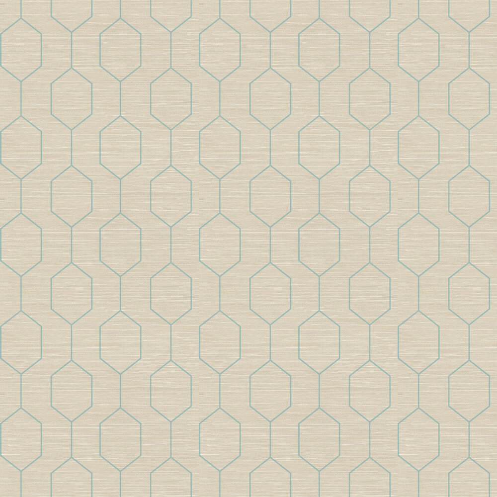 Kemptown Wallpaper - Aqua / Grey - by Elizabeth Ockford