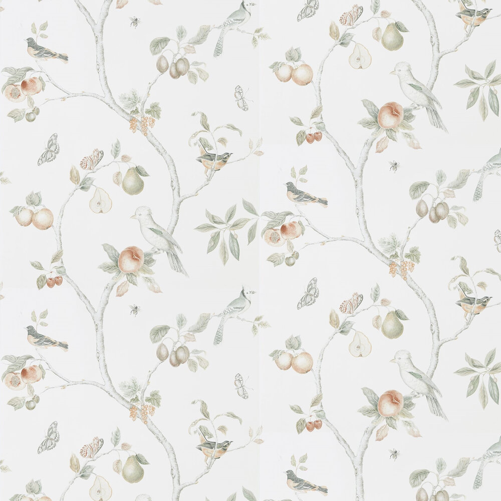 Fruit Aviary  Wallpaper - Ivory / Mineral  - by Sanderson
