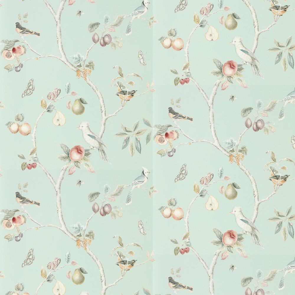 Fruit Aviary Wallpaper - Duck Egg / Multi - by Sanderson