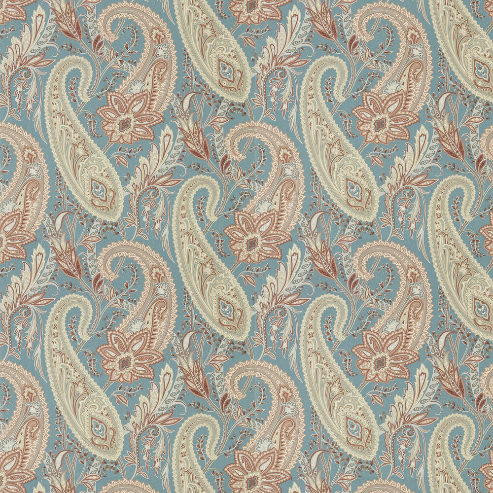 Sanderson Cashmere Paisley Teal / Spice Wallpaper - Product code: 216322