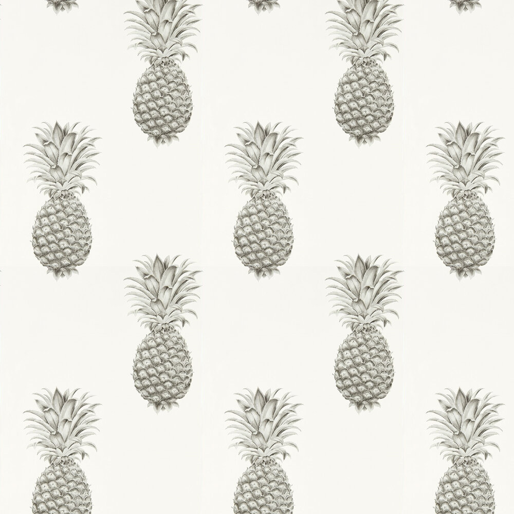 Pineapple Royale Wallpaper - Silver / Ivory - by Sanderson